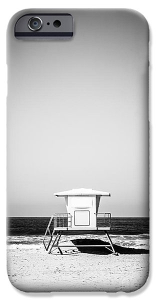 Hut iPhone Cases - Orange County Lifeguard Tower Black and White Picture iPhone Case by Paul Velgos