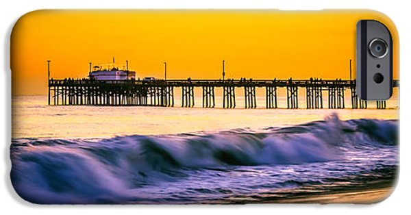 Pacific Ocean Prints iPhone Cases - Orange County Panoramic Sunset Picture iPhone Case by Paul Velgos