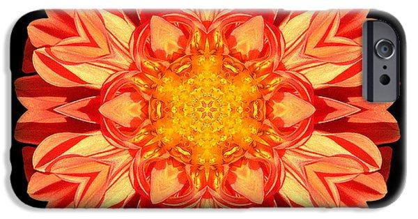 David J Bookbinder iPhone Cases - Orange Dahlia Flower Mandala iPhone Case by David J Bookbinder