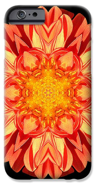 Orange Dahlia Flower Mandala iPhone Case by David J Bookbinder