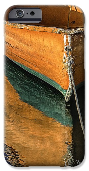 Rockport Ma iPhone Cases - Orange Dinghy in Warm Sun iPhone Case by Betty Denise