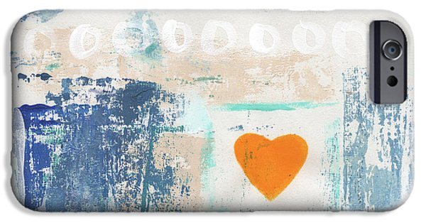 Pillow iPhone Cases - Orange Heart- abstract painting iPhone Case by Linda Woods