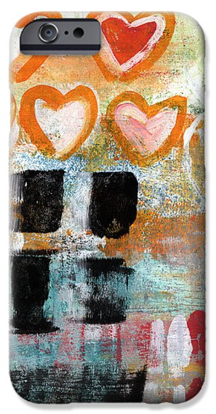 Abstracted iPhone Cases - Orange Hearts- abstract painting iPhone Case by Linda Woods