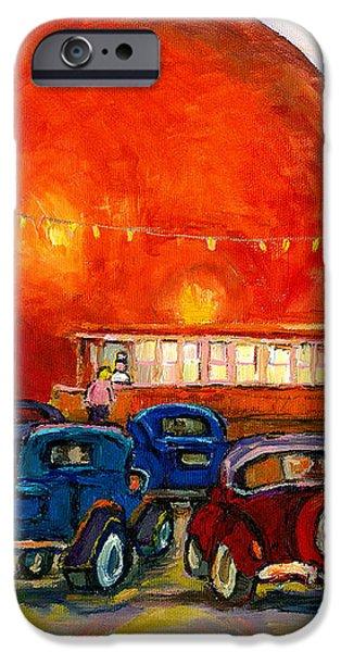 Orange Julep With Antique Cars iPhone Case by CAROLE SPANDAU