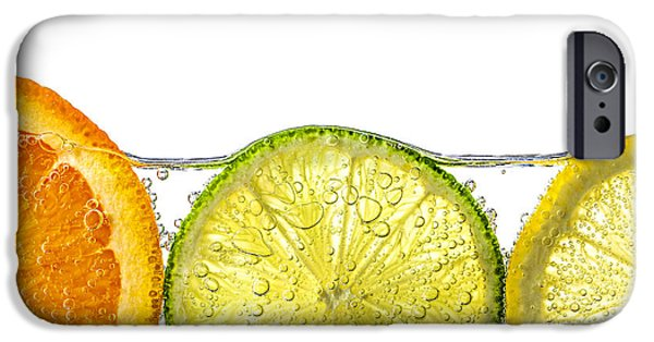 Orange iPhone Cases - Orange lemon and lime slices in water iPhone Case by Elena Elisseeva