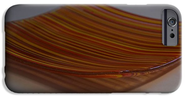Stripes Glass iPhone Cases - Orange Linear Plate iPhone Case by Rosalind Duffy