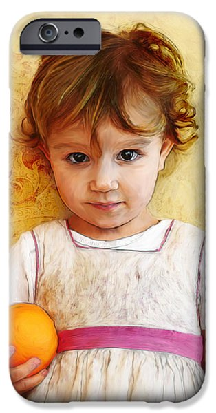 Little Girl Pyrography iPhone Cases - Orange iPhone Case by Maaike Roosendaal