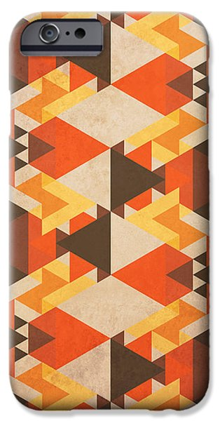 Abstracts iPhone Cases - Orange Maze iPhone Case by VessDSign