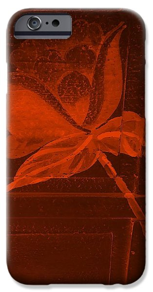 Botanic Illustration Digital Art iPhone Cases - Orange Negative Wood Flower iPhone Case by Rob Hans