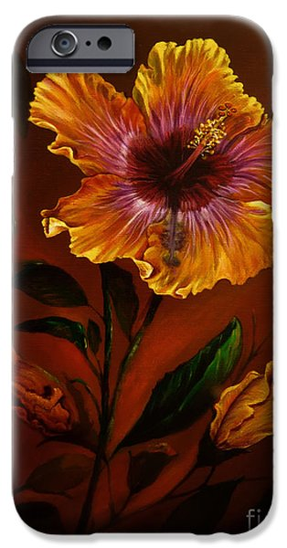 Tropical Paintings iPhone Cases - Orange painted hibiscus iPhone Case by Zina Stromberg