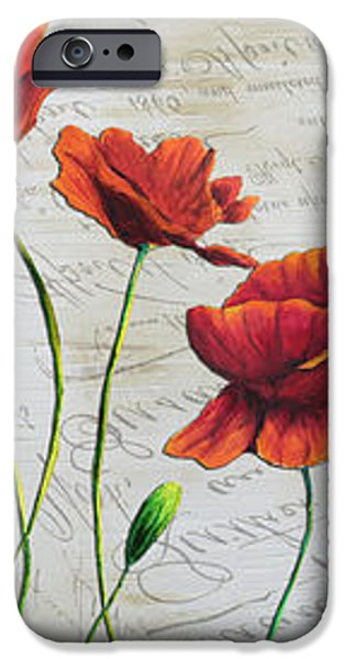 Orange Poppies Original Abstract Flower Painting by Megan Duncanson iPhone Case by Megan Duncanson
