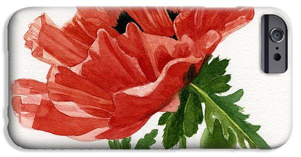 Botanical iPhone Cases - Orange Poppy Blossom Square Design iPhone Case by Sharon Freeman