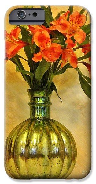 Wrap Digital Art iPhone Cases - Orange Shades Bouquet iPhone Case by Marsha Heiken