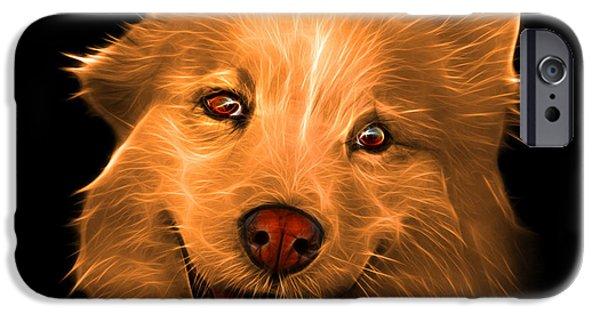 Mixed Labrador Retriever Paintings iPhone Cases - Orange Siberian Husky Mix Dog Pop Art - 5060 BB iPhone Case by James Ahn