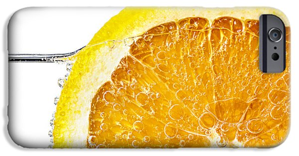 Slices iPhone Cases - Orange slice in water iPhone Case by Elena Elisseeva