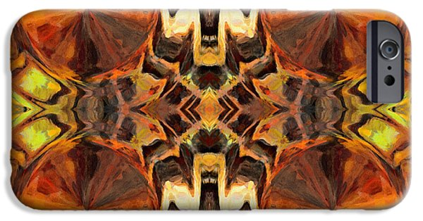 Abstract Digital Mixed Media iPhone Cases - Orange Slices Ornamental Abstract iPhone Case by Georgiana Romanovna