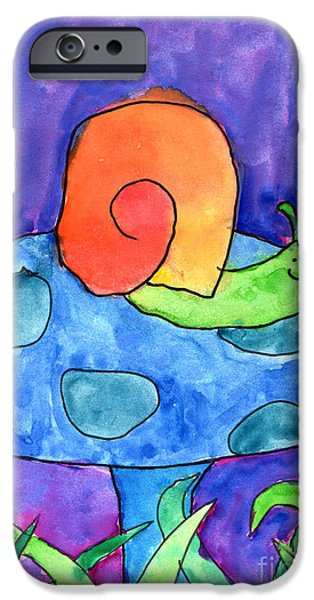 Imaginary Art iPhone Cases - Orange Snail iPhone Case by Nick Abrams Age Twelve