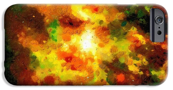 Outer Space Paintings iPhone Cases - Orange space clouds iPhone Case by Magomed Magomedagaev