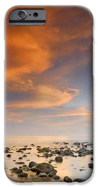 Orange sunset at the rocks iPhone Case by Guido Montanes Castillo