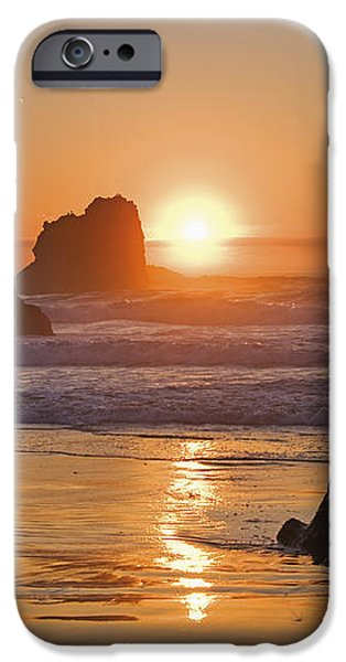 Orange Sunset Behind Offshore Rocks iPhone Case by Philippe Widling