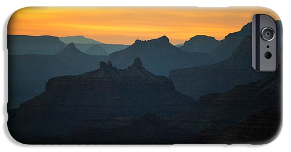 Arizona iPhone Cases - Orange Sunset Twilight over Silhouetted Spires in Grand Canyon National Park iPhone Case by Shawn O