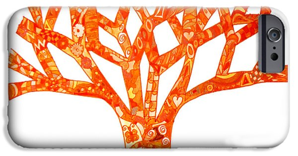 Kim Drawings iPhone Cases - Orange Tree Chakra 2 iPhone Case by Keleki Love