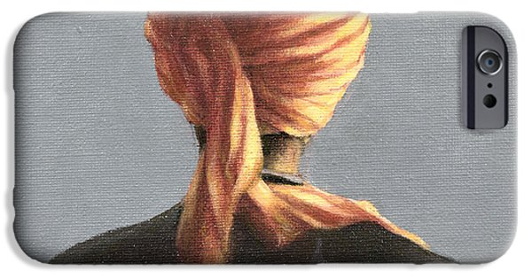 Figures iPhone Cases - Orange Turban, 2004 Acrylic On Canvas iPhone Case by Lincoln Seligman
