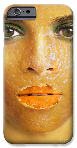 Strange iPhone Cases - Orange Woman iPhone Case by Diane Diederich