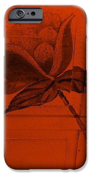 Botanic Illustration Digital Art iPhone Cases - Orange Wood Flower iPhone Case by Rob Hans