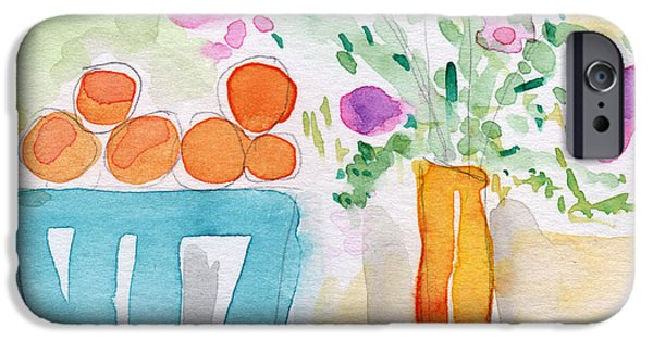 Wall Mixed Media iPhone Cases - Oranges in Blue Bowl- watercolor painting iPhone Case by Linda Woods