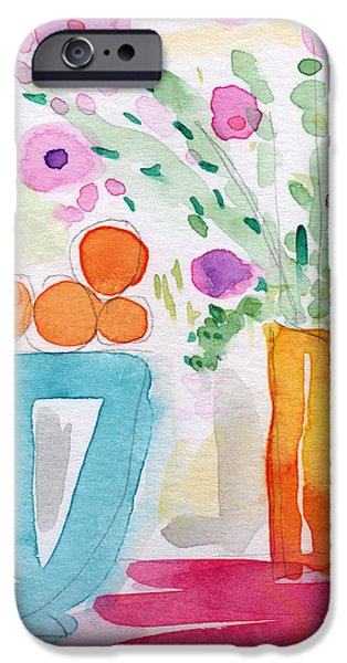 Oranges in Blue Bowl- watercolor painting iPhone Case by Linda Woods