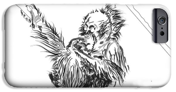 Orangutan Digital Art iPhone Cases - Orangutan baby 2 iPhone Case by Go Van Kampen