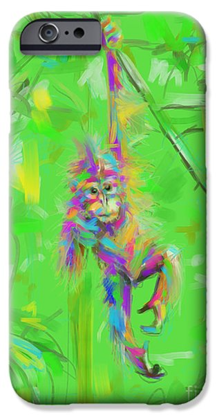 Orangutan Digital Art iPhone Cases - Orangutan baby in color iPhone Case by Go Van Kampen