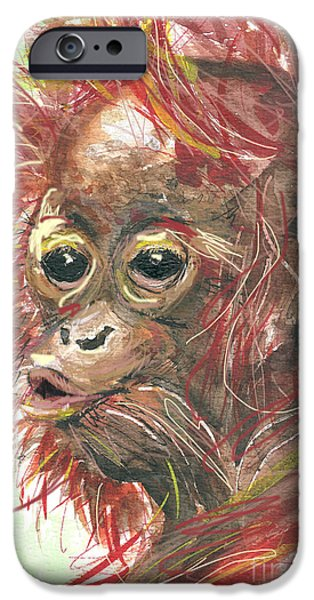 Orangutan Digital Art iPhone Cases - orangutan Sammy iPhone Case by Go Van Kampen