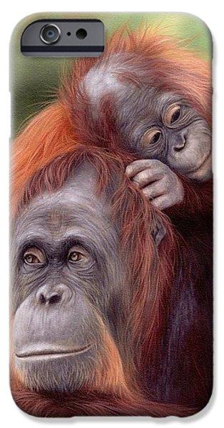 Orangutan iPhone Cases - Orangutans Painting iPhone Case by Rachel Stribbling
