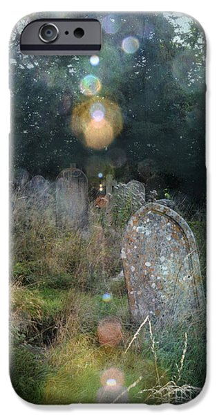 Headstones iPhone Cases - Orbs in Overgrown Cemetery iPhone Case by Jill Battaglia
