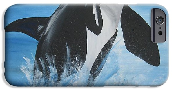 Catherine White Paintings iPhone Cases - Orca iPhone Case by Cathy Jacobs