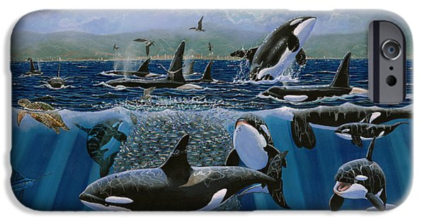 Manatee iPhone Cases - Orca Play Re009 iPhone Case by Carey Chen
