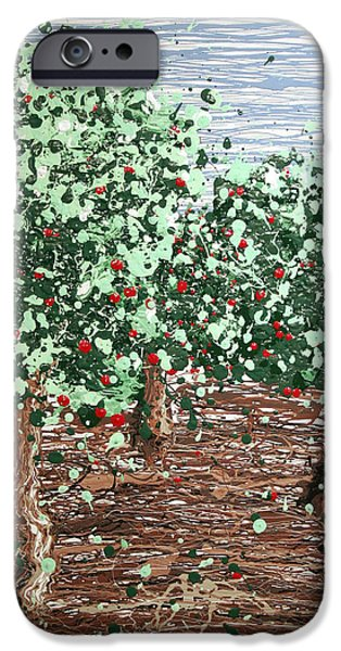 Fruit Tree Art Giclee iPhone Cases - Orchard 4 iPhone Case by Ric Bascobert