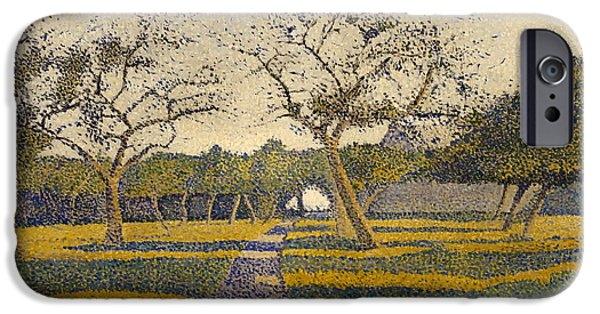 Fruit Tree Paintings iPhone Cases - Orchard at La Louviere iPhone Case by Alfred Finch