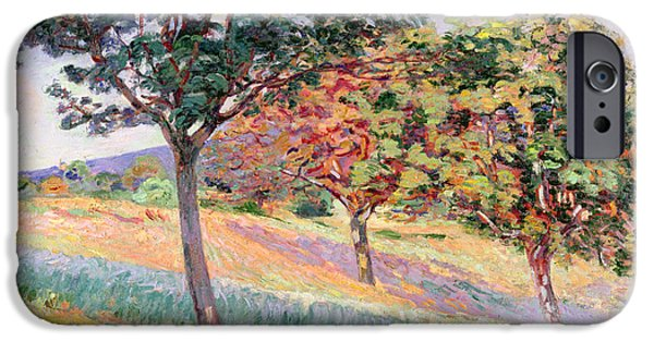 Impressionistic Landscape Paintings iPhone Cases - Orchard at St Cheron iPhone Case by Jean Baptiste Armand Guillaumin