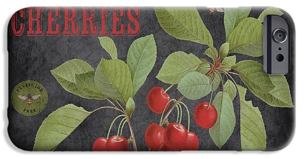 Locally Grown iPhone Cases - Orchard Fresh Cherries-JP2639 iPhone Case by Jean Plout