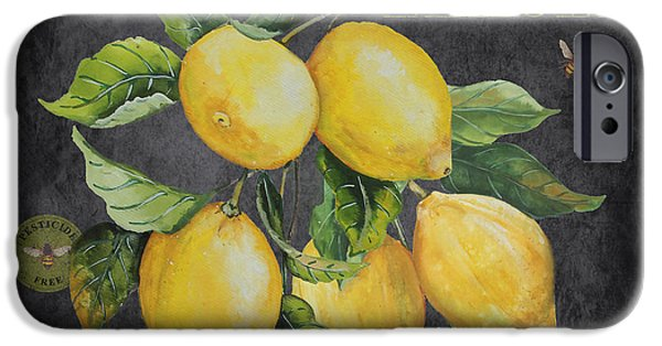 Locally Grown iPhone Cases - Orchard Fresh Lemons-JP2679 iPhone Case by Jean Plout