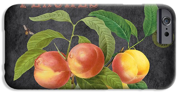 Locally Grown iPhone Cases - Orchard Fresh Peaches-JP2640 iPhone Case by Jean Plout