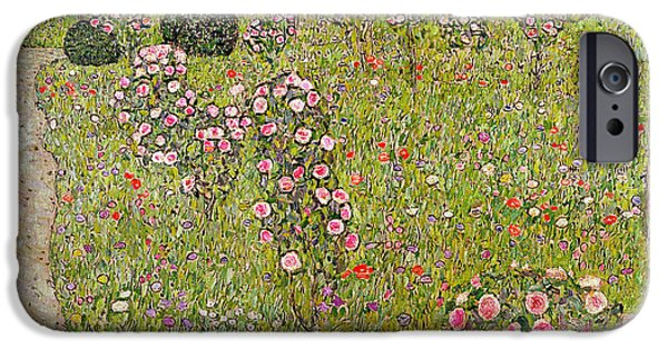 Garden Scene Photographs iPhone Cases - Orchard With Roses Obstgarten Mit Rosen iPhone Case by Gustav Klimt