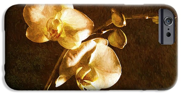 Abstract Digital Pyrography iPhone Cases - Orchid 1 iPhone Case by Mauro Celotti