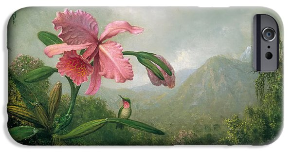 Concept Paintings iPhone Cases - Orchid and Hummingbird iPhone Case by Heade