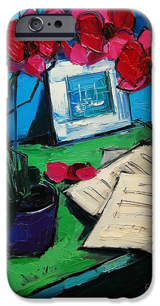 Abstract Expressionism Paintings iPhone Cases - Orchid And Piano Sheets iPhone Case by Mona Edulesco