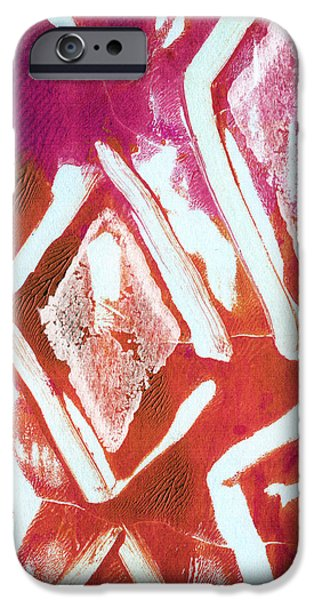 Orchid Diamonds- Abstract Painting iPhone Case by Linda Woods