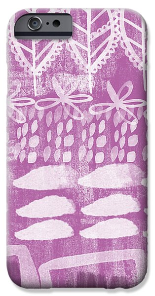 Leaves Mixed Media iPhone Cases - Orchid Fields iPhone Case by Linda Woods